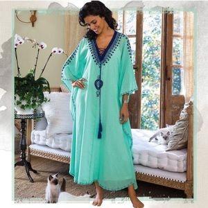 Soft Surroundings embroidered Capri caftan dress